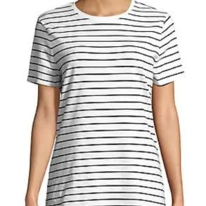 Lord & Taylor Purple and White Striped Tee
